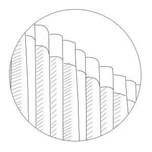 terminer avec du ruban de pli, 2,5 cm ou 7 cm de large